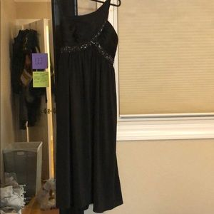Adrianna Papell black one shoulder dress